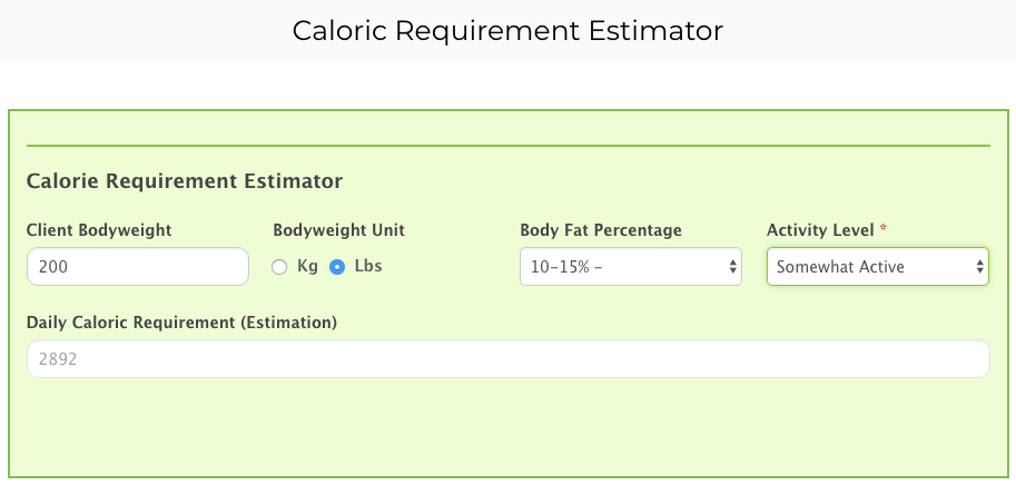 Caloric Requirement Calculator Preview 1
