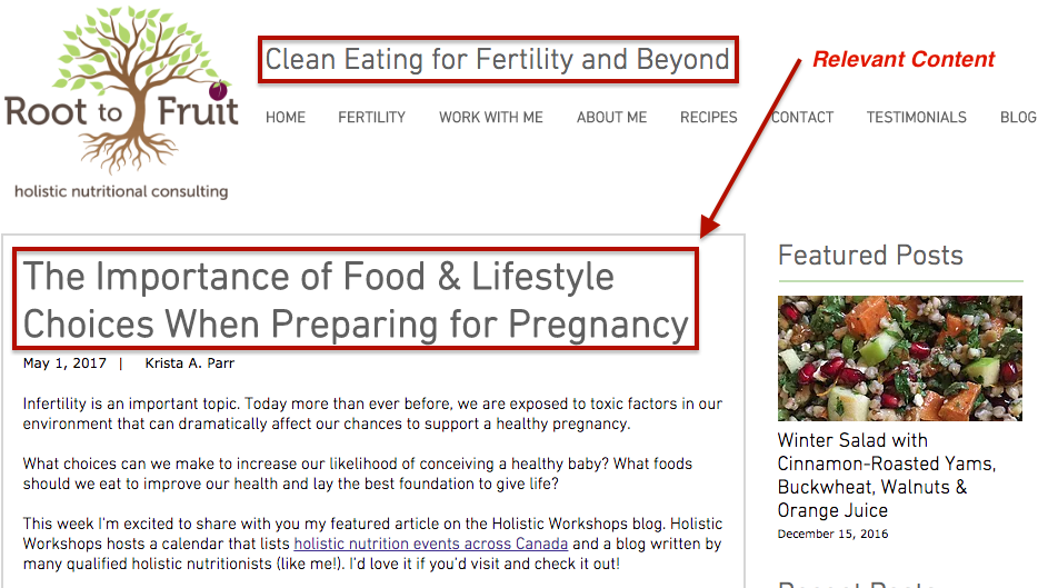 Write Nutrition Content That is Relevant To The Niche Served By Your Nutrition Consulting Business