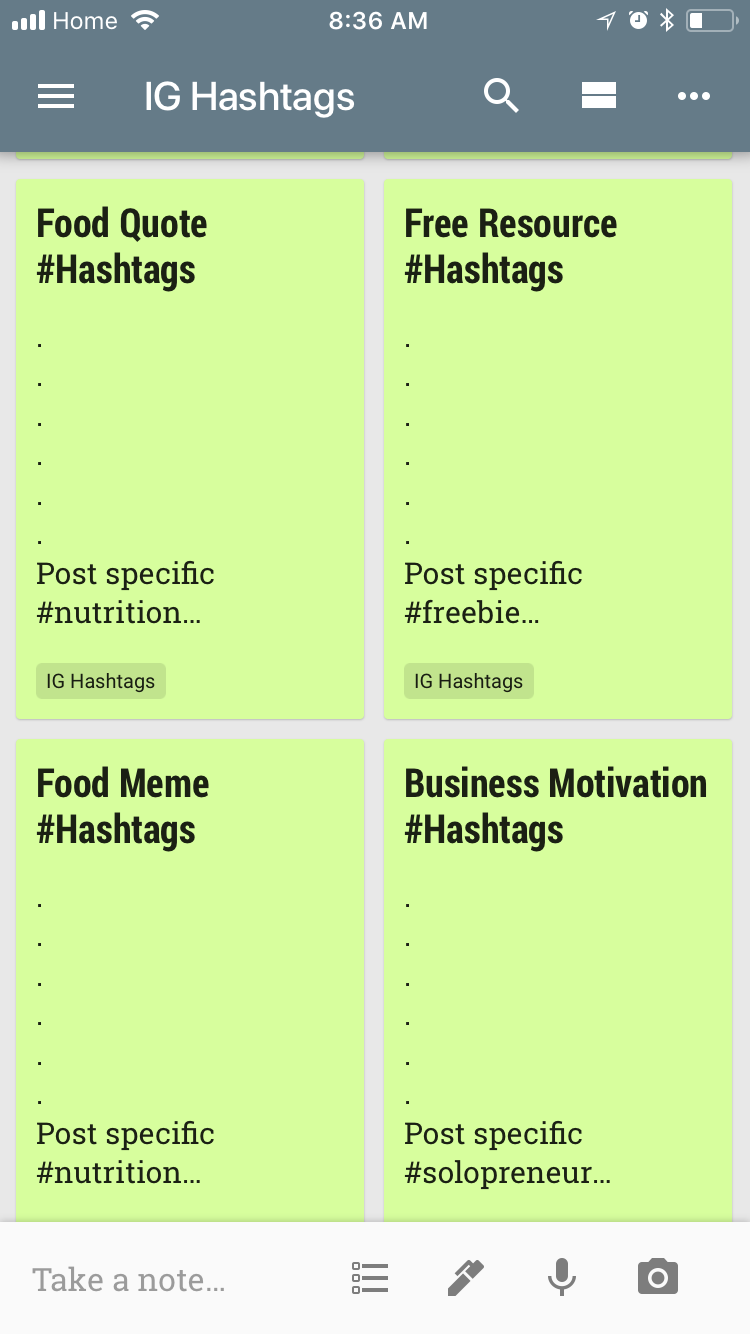 Individual Notes With All The Combined Hashtags For Each Category
